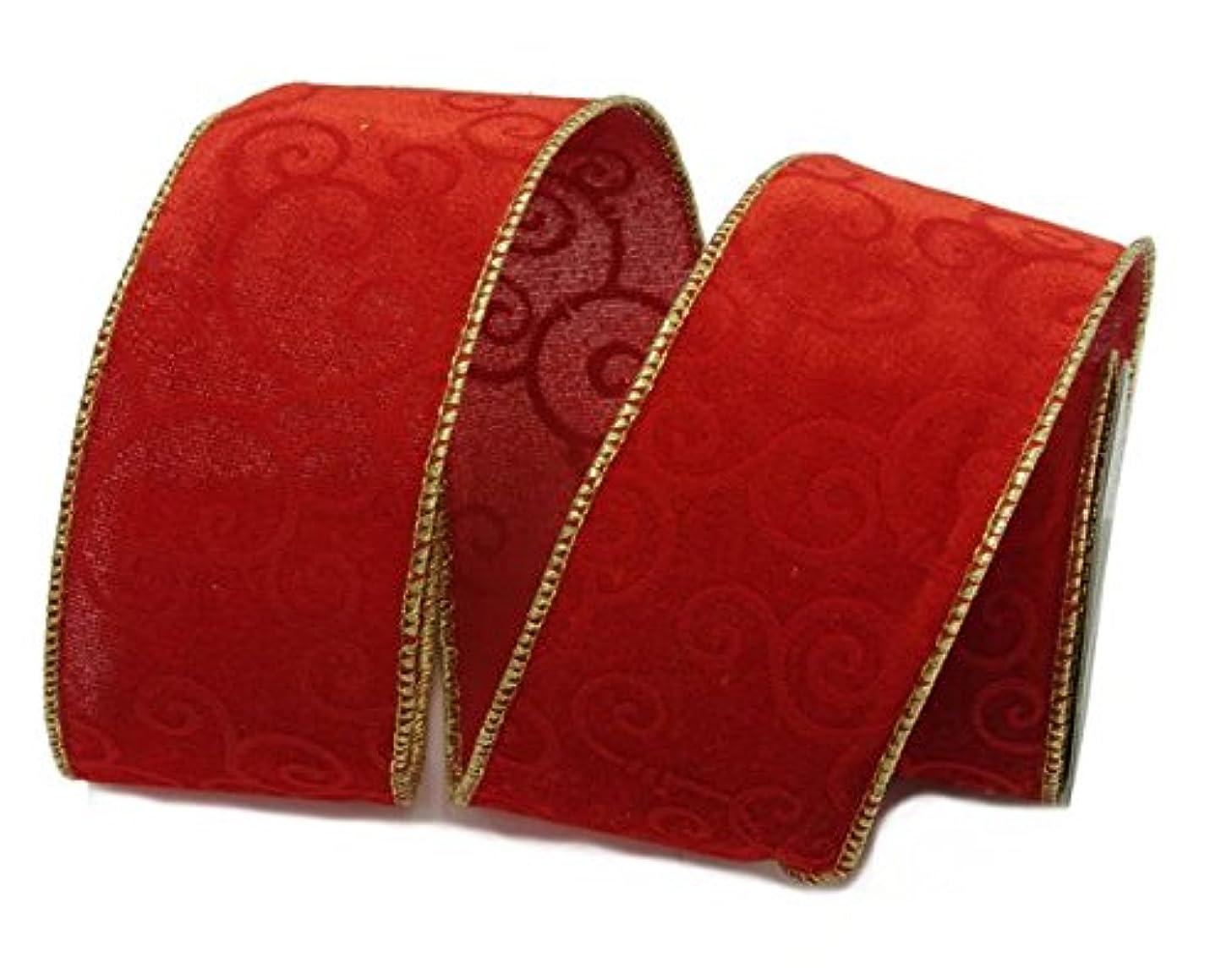 Renaissance 2000 11698 Velvet Lamour Print Fabric Ribbon, Red/Gold