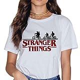 Camisetas Stranger Things Mujer, Camisetas Stranger Things Nia Retro tee Ringer T Shirt Manga Corta Abecedario Impresin T-Shirt Regalo Camisa Verano Camisetas y Tops (9,S)