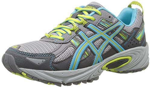 ASICS Women's Gel-Venture 5 Running Shoe, Silver Grey/Turquoise/Lime Punch, 7 M US