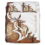 WOSITON Juego de colcha de ciervos Hunter Comfort Home estilo europeo color gris decorativo cama almohada conjunto blanco 228 x 228 cm