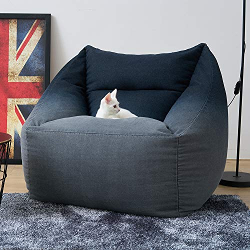 Bean Bag Chair (No Filler) Big Sofa with Soft Cotton Cover Sleeper Chair Storage Bean Bag Chair Cover Gaming Chairs Flexible Seating (Single, Black) chair gaming