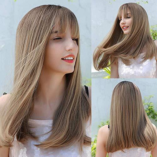 HAIRCUBE perruques blondes longues droites 20 pouces perruques pour femmes perruques femmes perruques synthétiques avec frange