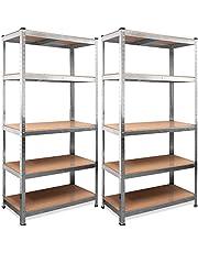 Monzana Stellingkast 2 stuks Opbergkast - Planken 180 x 90 x 40 cm - 875 kg Draagvermogen Rekken 5 Niveaus Metalen frame - MDF planken