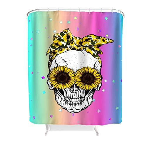 NeiBangM Sunflower Skull douchegordijn waterdichte stof topkwaliteit badkuip-gordijn