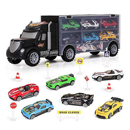 m zimoon LKW Autotransporter Spielzeug, Transport Träger Truck Spielzeugauto Set mit 8 Zubehör und 6 Mini Metallauto Kindergeburtstag Gastgeschenke Geschenk für 3-12 Jahre alte Jungen Mädchen Kinder