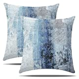 NEERYO Blue Grey Abstract Pillow Covers Artwork Art Accent Modern Couch Gallery Square Decorative Throw Pillow Covers Cushion Cover Decor Pillowcase for Sofa Living Room Bedroom 18 x 18 Inch Set of 2