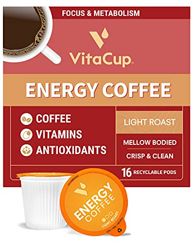 VitaCup Light Roast Coffee Pods with Vitamin B1, B5, B6, B9, B12 & D3 Infused for Energy & Metabolism in Recyclable Single Serve Pod Compatible with K-Cup Brewers Including Keurig 2.0, 16 Count