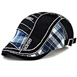 M MOACC Men Beret Hat Cotton Buckle Adjustable Newsboy Hats Cabbie Gatsby Cap,Black #12942