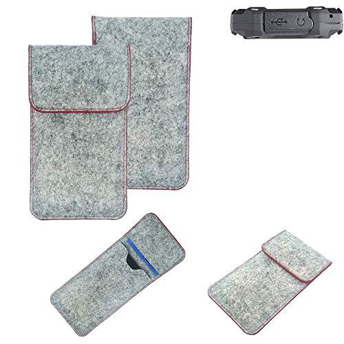 K-S-Trade® Handy Schutz Hülle Für Simvalley Mobile SPT-210 Schutzhülle Handyhülle Filztasche Pouch Tasche Hülle Sleeve Filzhülle Hellgrau Roter Rand