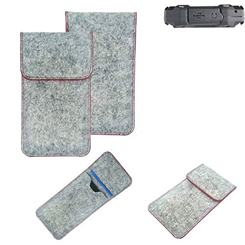 K-S-Trade® Handy Schutz Hülle Für Simvalley Mobile SPT-210 Schutzhülle Handyhülle Filztasche Pouch Tasche Case Sleeve Filzhülle Hellgrau Roter Rand