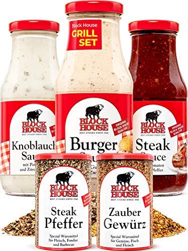 Block House Set 3x Saucen mit Zaubergewürz 280g & Steak Pfeffer 200g