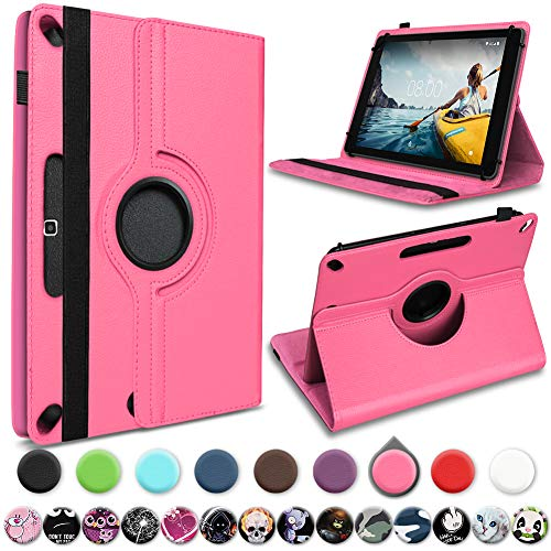 UC-Express Medion Lifetab E10414 E10604 E10412 E10511 E10513 E10501 Tablet Hülle Tasche Schutzhülle Cover 360° Drehbar, Farbe:Pink