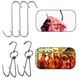 Tinsow 2pcs Stainless Steel Double Hooks + 3pcs S-Hooks for Bacon Hams Meat Processing Butcher Hook Hanging Drying BBQ Grill Cooking Smoker Hook Tool