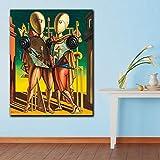 REDWPQ Moda Impresa Pintura al óleo Cuadros de Pared para Sala de Estar decoración del hogar Giorgio De Chirico Héctor y Andromaca Lienzo Arte 50X60 cm sin Marco
