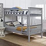 Walker Edison Resende Mission Style Solid Wood Twin over Twin Bunk Bed, Twin over Twin, Grey