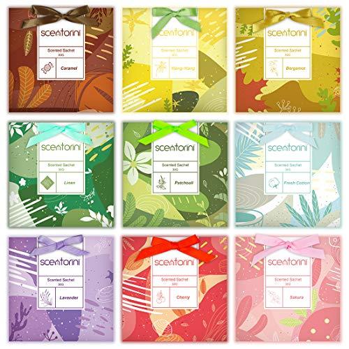 SCENTORINI Duftsachets für Schubladen, Schränke, 9 x 30g, Duft von Kirsche, frische Baumwolle, Patschuli, Karamell, Sakura, Bergamotte, Lavendel, Leinen, Ylang-Ylang