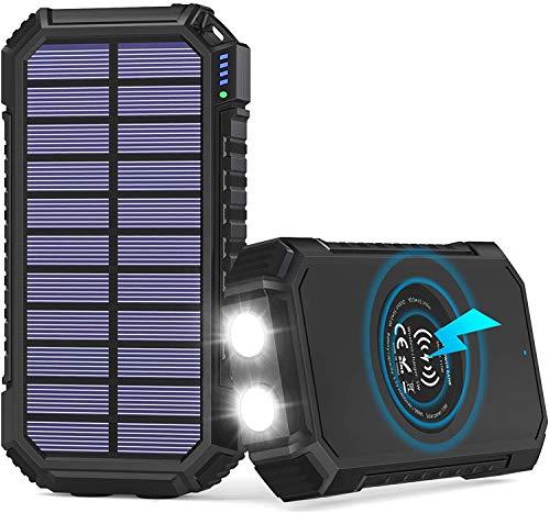 Ruosaren Batería externa solar de 26800 mAh, cargador solar inalámbrico con 4 salidas USB C 3A para smartphones, tablets y más