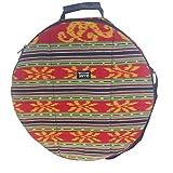 Shamandrum Tasche aus Ikat Farbig Ø 50 cm für Schamanentrommel Rahmentrommel - im MYSEVENDO Set - Rund Ritual Drum Trageriemen
