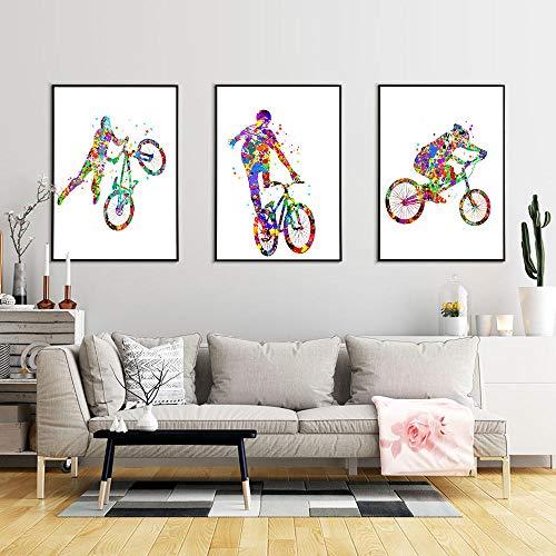 Cuadro de arte de bicicleta de mosaico colorido pintura de lienzo abstracto nórdico carteles e impresiones artísticos de pared para sala de estar decoración única para el hogar - 40x50cmx3 sin marco