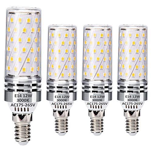 E14 LED Maíz Bombillas 12W Equivalente a 100W Halógeno Bombillas, E14 Blanco cálido 3000K, Pequeña Edison Tornillo LED Ligero Bombillas, sin parpadeo, sin atenuación, 1400LM, CA 230V, paquete de 4
