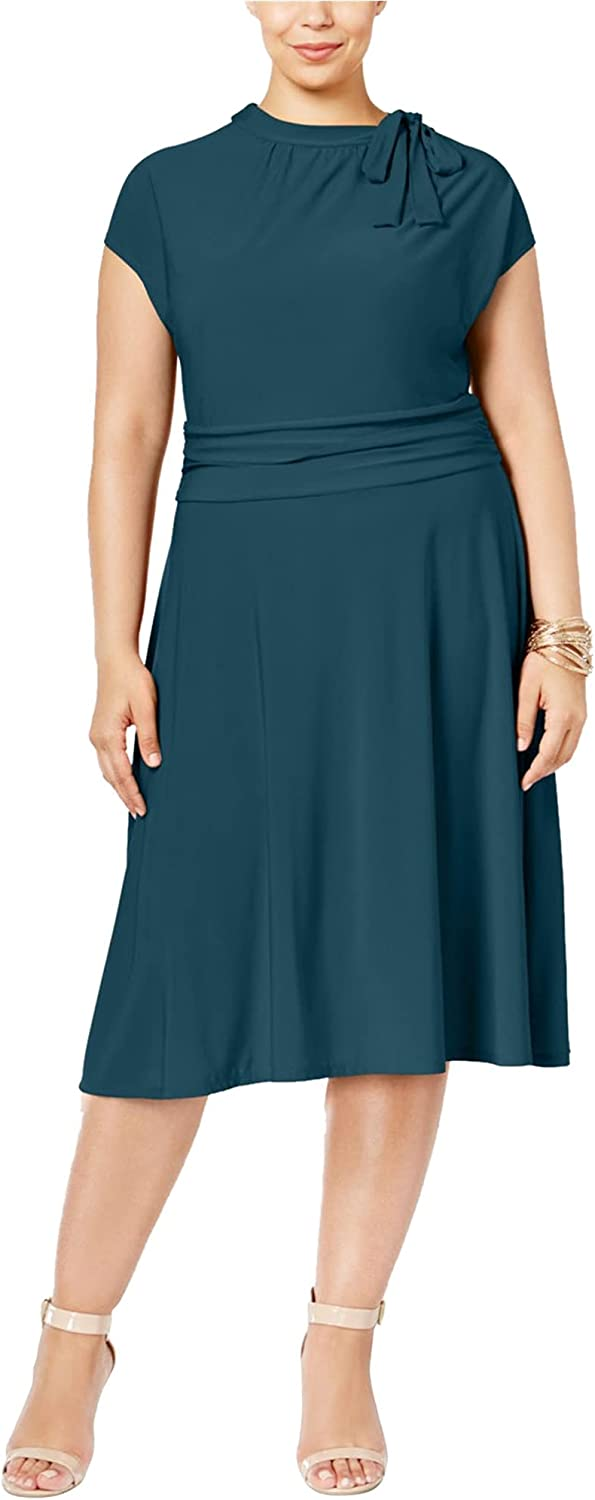 Love Squared Womens Plus Matte ファクトリーアウトレット おしゃれ Jersey Tie Neck Wear Work Dres to