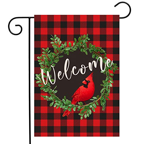 CardinalChristmas Garden Flag | Wreath Welcome Garden Flag 12.5 x 18 Inch | Buffalo Check Plaid Winter Yard Flag Double Sided | Rustic Christmas Yard Decorations | Holiday Outdoor Flags