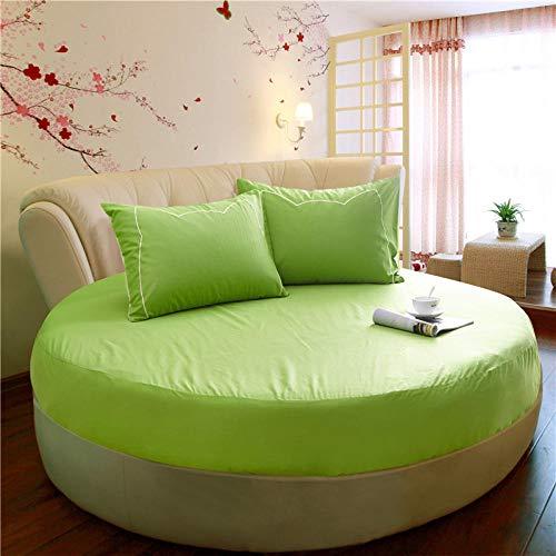 HPPSLT Protector de colchón/Cubre colchón Acolchado de Fibra antiácaros, Transpirable, Cama Redonda de algodón Color sólido Espesamiento-Fruta Verde 1_1.6m