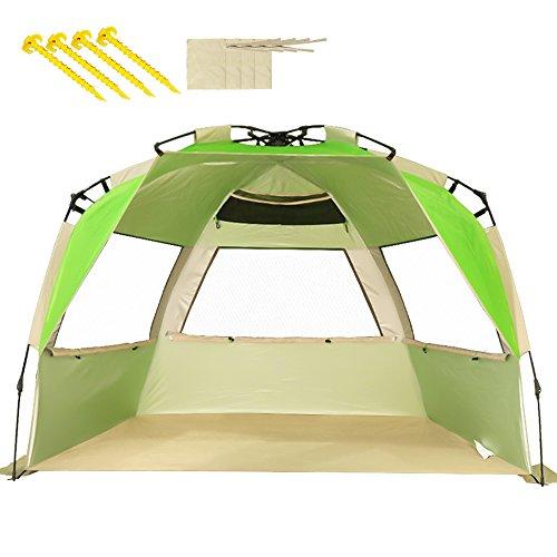 ZOMAKE Family Strandzelt, 2-4 Personen, Automatische Strandunterstände Anti UV UPF 50+, Sonnenschutz für Strandangeln im Freien (Grass Green)