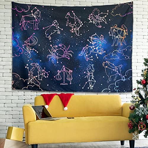 OwlOwlfan Star Constellation Tapersty - Tapiz para colgar en la pared, diseño de constelación, color blanco 91 x 59 pulgadas