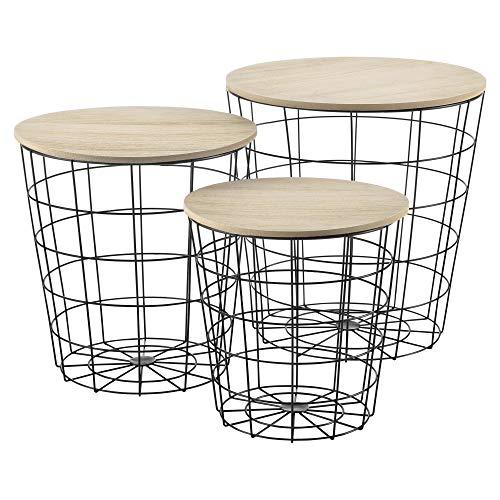 Set de 3X Cestas de Metal con bandejas extraíbles Mesa Baja Mesa Auxiliar para Almacenar Mesas de té y café Mesas de Centro Negro y Color de Madera