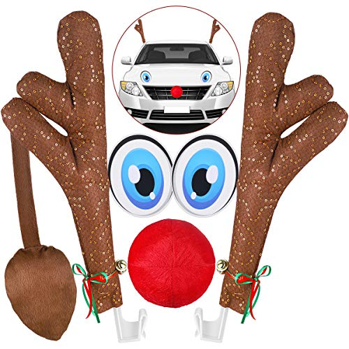 Unomor Car Antlers and Nose for Car Christmas Decorations with Eyes, Tails, Shiny Sequins and Jingle Bells - 43.5CM
