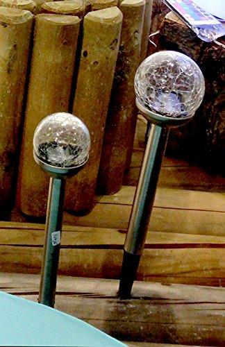 Cepea 72436 LED Solarleuchten Set Gartenlampe 2 er Set Gartenstab 8 cm Glaskugel in Crushglas