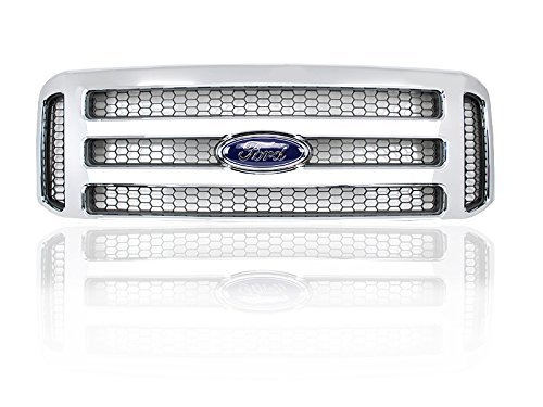 Ford Chrome 05-07 Super Duty/Excursion Conversion Grille Fits 99-04 - For F250 F350 F450 F550 with factory clips and Ford emblem.
