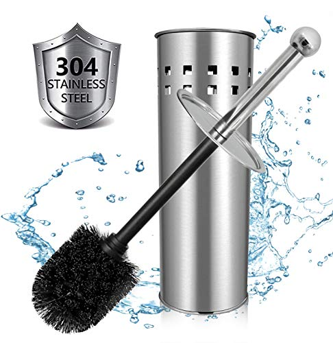 GiniHomer Toilet Brush and Holder, 304 Bamboo Charcoal Stainless Steel Toilet Brush for Bathroom Storage and Organization - Space Saving, Sturdy, Toilet Cleaner, Odor Free-Black