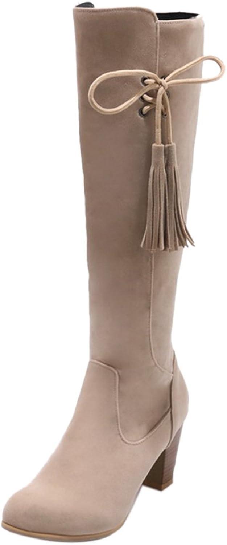KemeKiss Women Classial Block High Heels Long Boots Extra Size