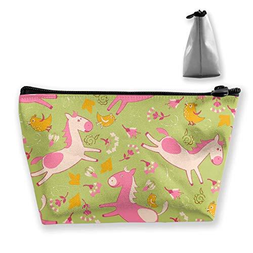 Trousse de maquillage portable avec fermeture éclair Motif cheval et oiseaux Rose