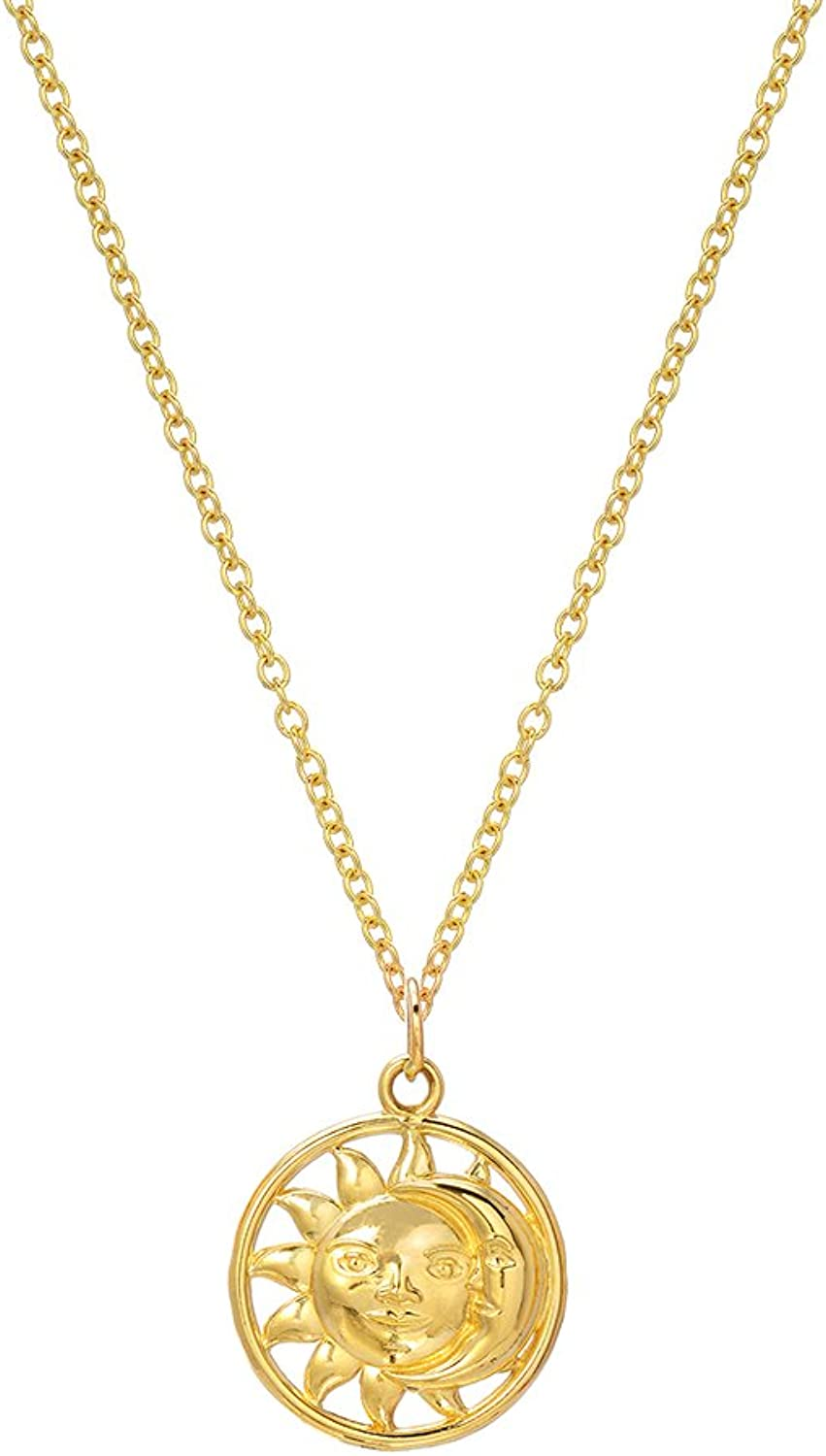 14K Yellow gold Celestial Moon and Smilling Sun Pendant Necklace, 18
