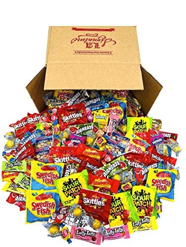 FUN MIX ASSORTED Variety BULK Individually Wrapped Candies, 50 OZ (3.12 LBS) - Skittles, Haribo Gold...