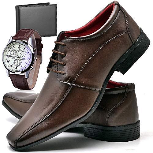 Sapato Social Com Relógio Carteira e Cadarço Masculino Top Flex R804DB Tamanho:42;cor:Marrom;gênero:Masculino