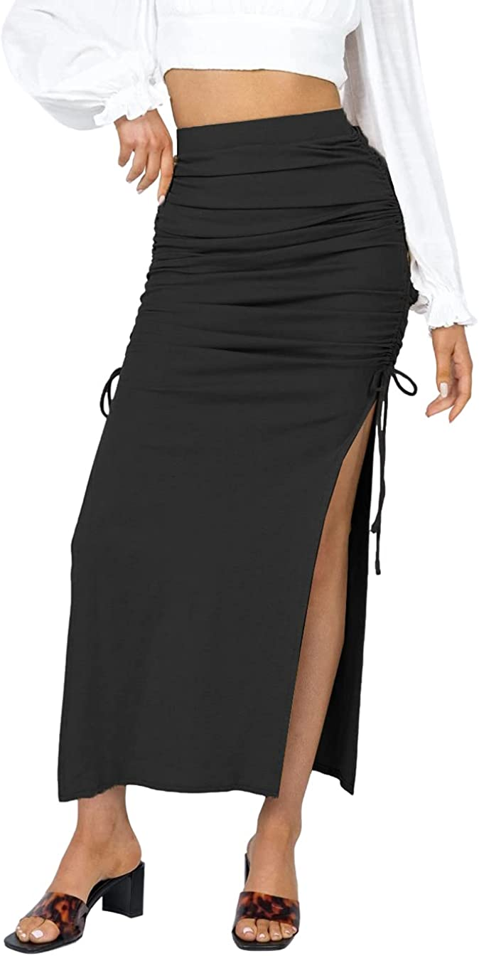 VNDFLAG Women's Elastic High Waisted Stretchy Bodycon Ruched Dra