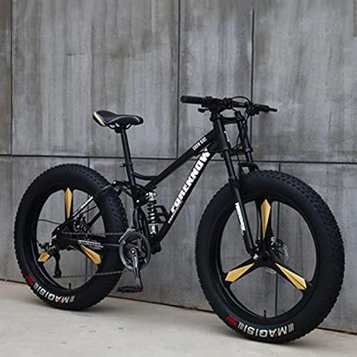 SHUI 24'' Mountain Bike da Uomo, Bici Neve Spiaggia con Pneumatici Grassi, Bicicletta a 7/21/24/27 velocità, Mountain Bike per Tutti I Terreni con Doppio Ammortizzatore Black-7 Speed