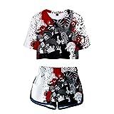 WWZY Verano de Las Mujeres Conjunto de 2 Piezas Set pantalón Corto y Camiseta Naruto Impreso en 3D Akatsuki T-Shirt y Shorts 2 Piezas Deportivos Trajes,Blanco,XL