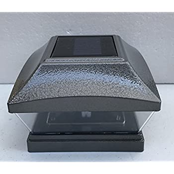 Set of 4 Solar Post Cap Hammered Gray Color 28 Lumens 2