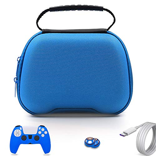 PS5 Controller-Hülle, Gamepad Tragetasche Ersatz für Sony Playstation 5 Wireless Controller, Reise-Hartschale mit 2 Daumengriff-Kappen – Blau