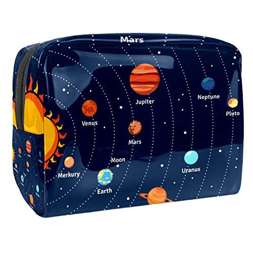 Bolsas de Maquillaje Estuche multifunción para Organizador de Bolsas de cosméticos de Viaje portátil Sistema Solar y Planetas. con Neceser con Cremallera para Mujer