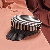 anyuq66qq Cappello Cappello da Marinaio Militare A Righe Blu Navy Militare per Donna Berretti in Cotone Cappelli da Marinaio con Cappuccio A Schermo Piatto Cappellino da Mare Casual, Nero
