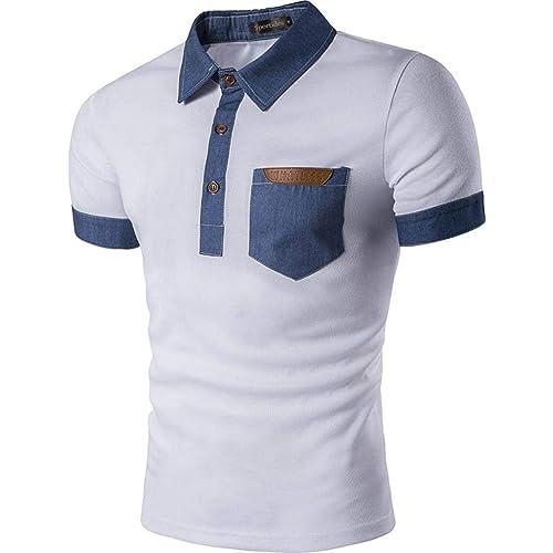cec89d1746 Sportides Mens Polo Shirts Contrast Collar Golf Tennis Short Sleeve Shirt  Tops JZA012