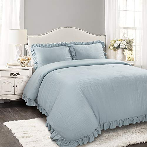 King 3pc Reyna Comforter & Sham Set Blue - Lush Décor