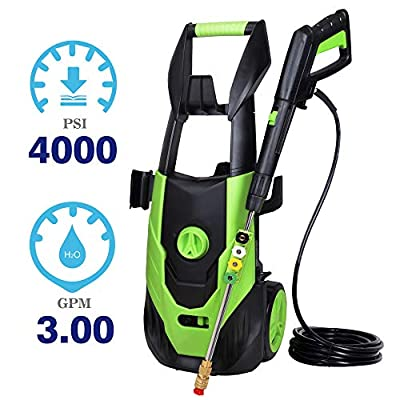 PowRyte Elite Electric Pressure Washer with 5 Interchangeable Spray Tips,Long Term Helper Washer, High Effcient Pressure Washer 4000PSI 3.0GPM