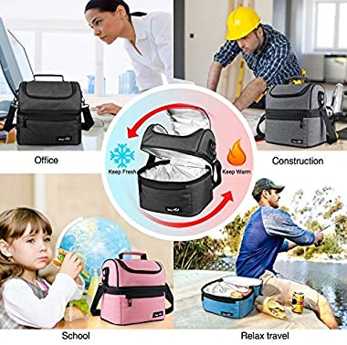 Hap Tim Lunch Box Insulated Lunch Bag Large Cooler Tote Bag for Adult,Men,Women,Kid, Double Deck Cooler for Office/School/Pic
